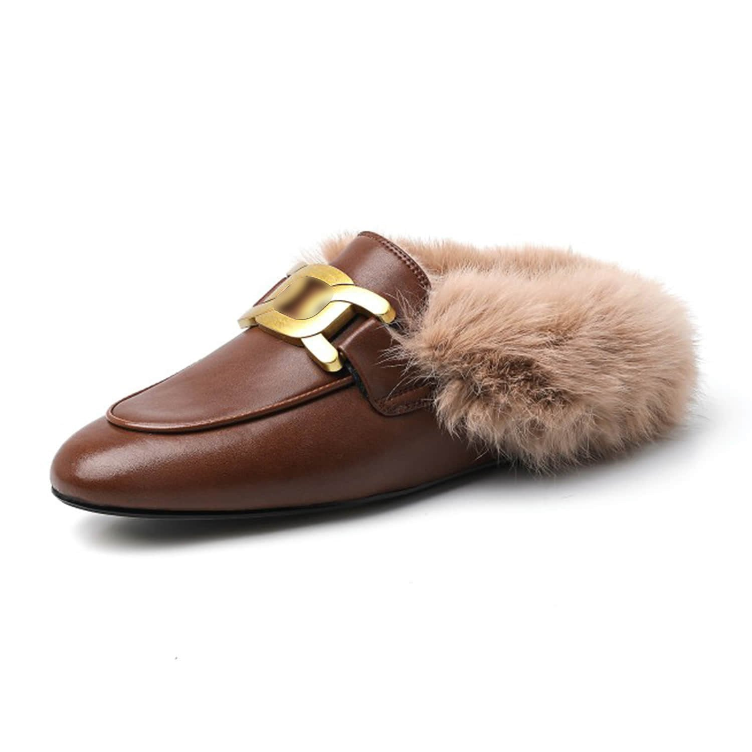 Metal Decor Backless Fluffy Round Toe Slippers Mule