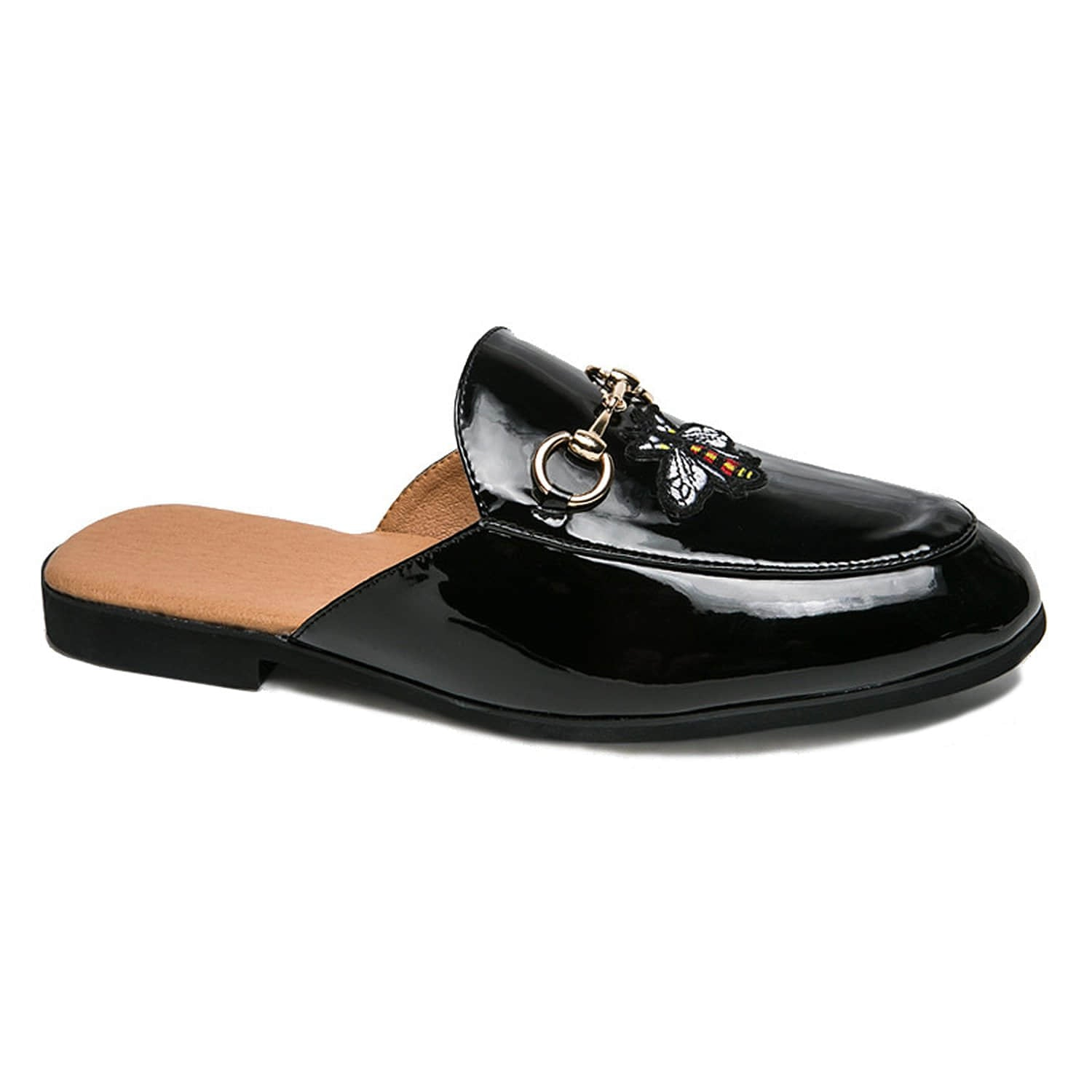 Patent Leather Buckle Slippers Mules