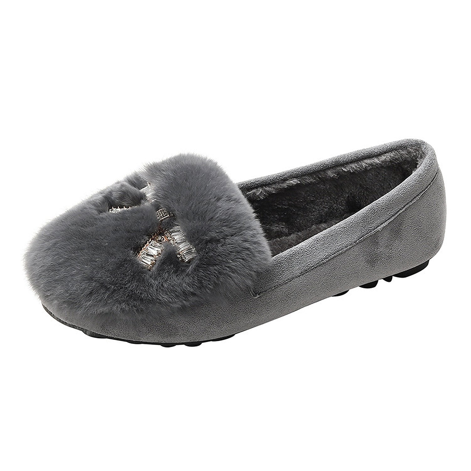 Fashion Round Soft Fur Loafers