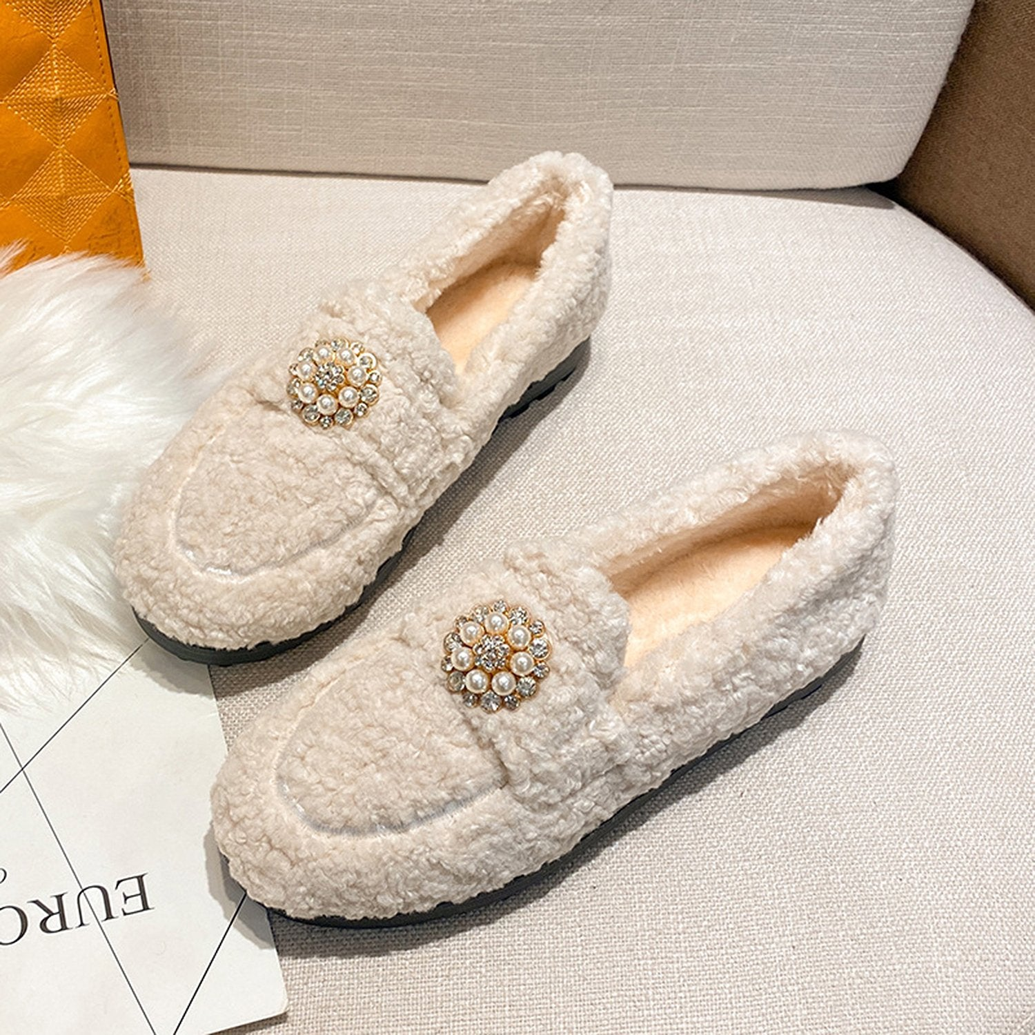 Pearl Flat-Bottom Fur Loafers