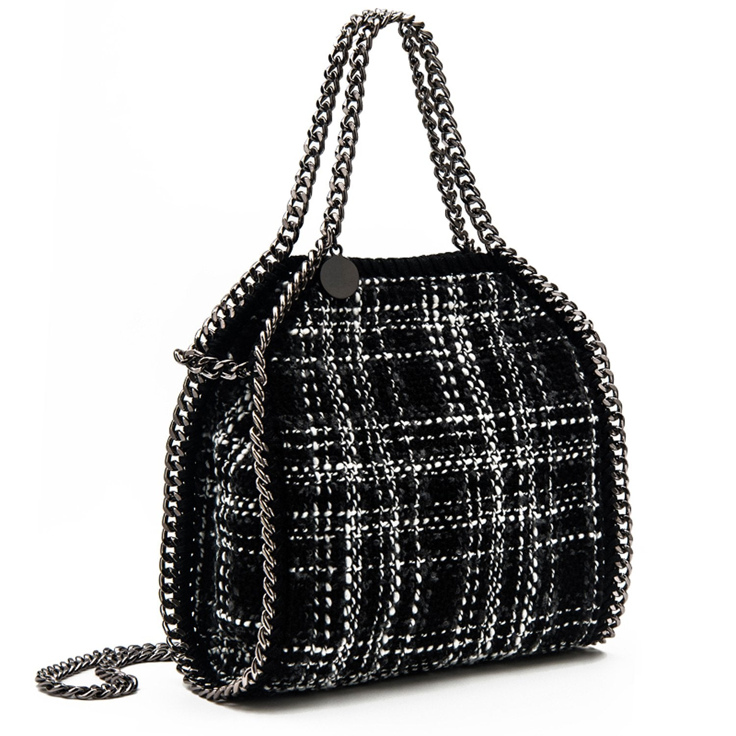 Fashion Black and White Little Grid Chain Square Handbags