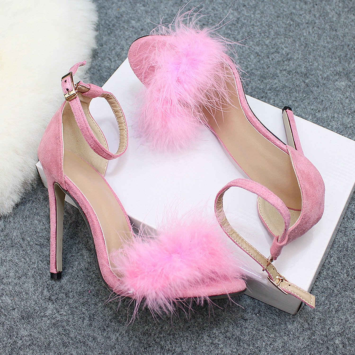 Sexy High Heels Buckle Fur Sandals