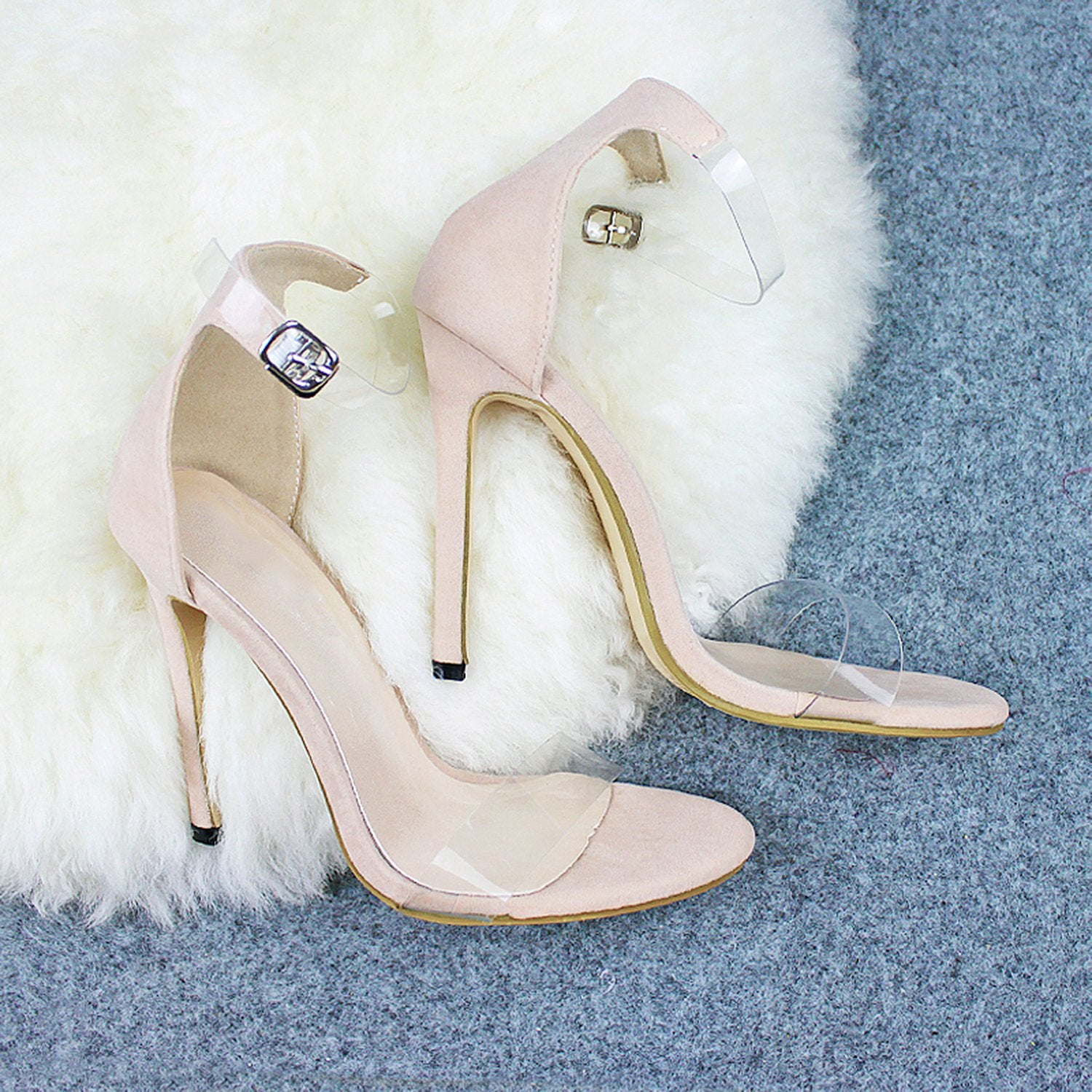 Transparent PVC Peep Toe Stilettos High Heel Sandals