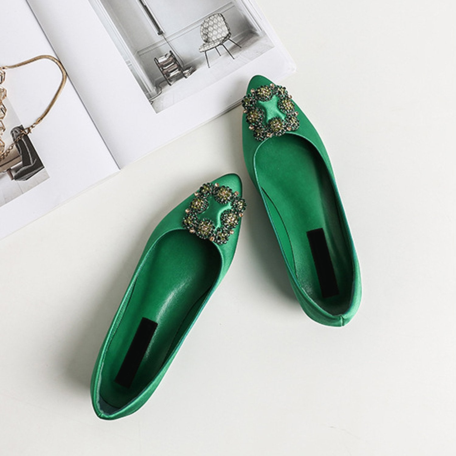 Pointed Toe Silk Rhinestone Flat Loafers