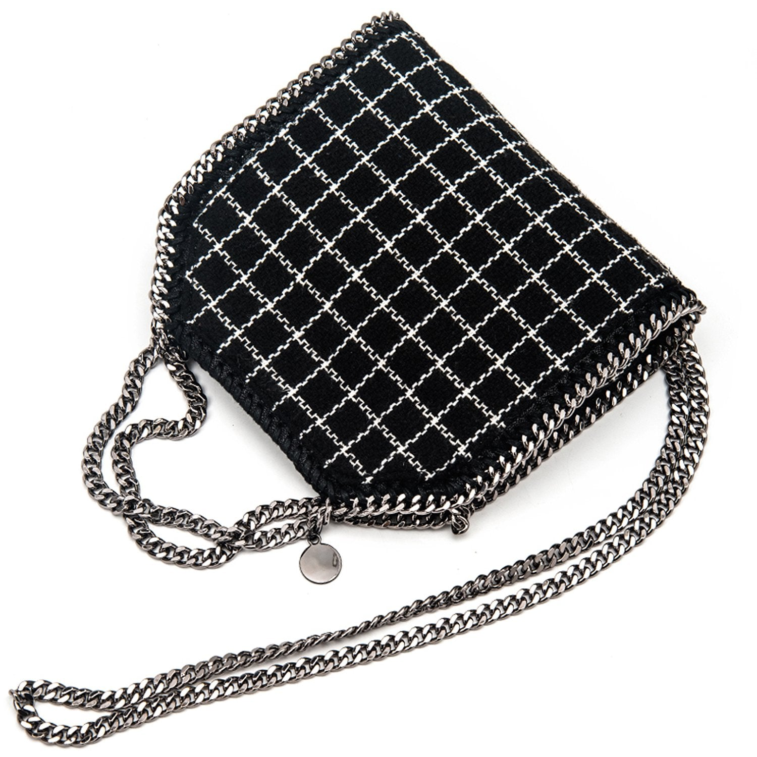 Fashion Black and White Stripe Grid Chain Square Handbags