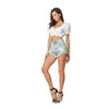 Shredded Denim Shorts Plus Size Raw Edge Shorts