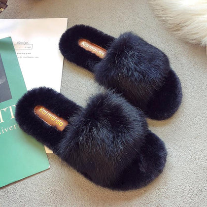 Soft Comfy Flat Fur Slippers