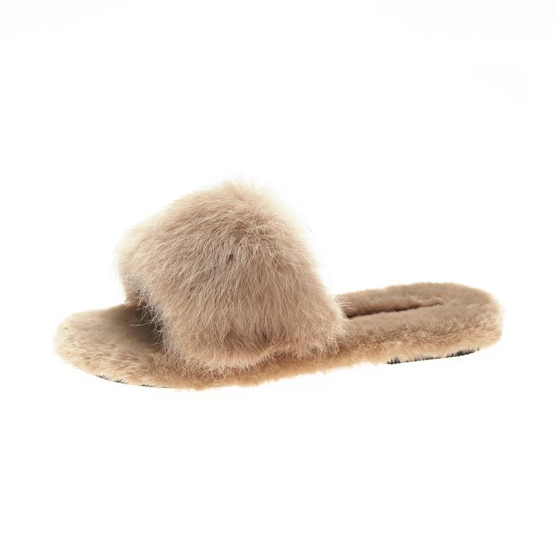 Open Toe Fluffy Furry Fur Comfy Slippers