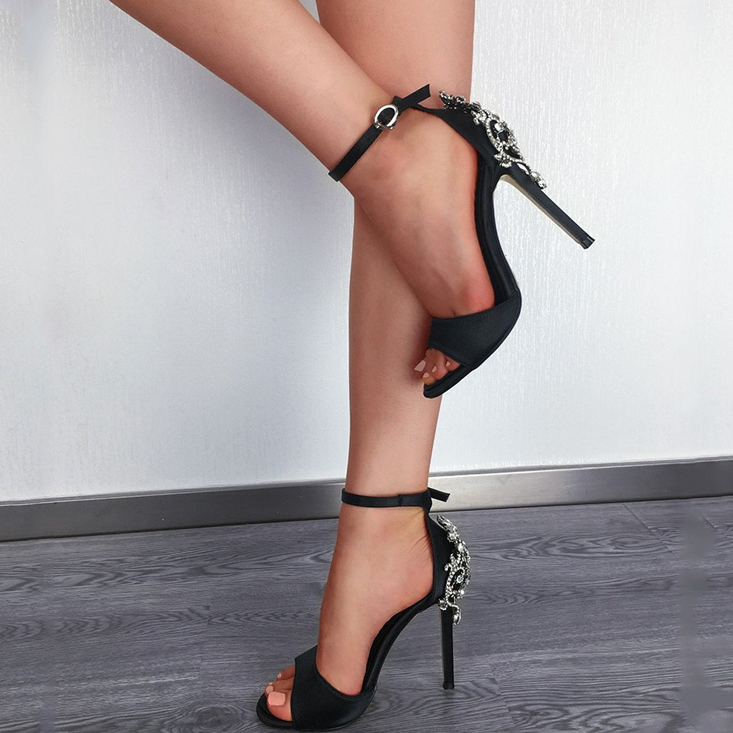 Rhinestone Sandals Peep Toe Stiletto High Heels