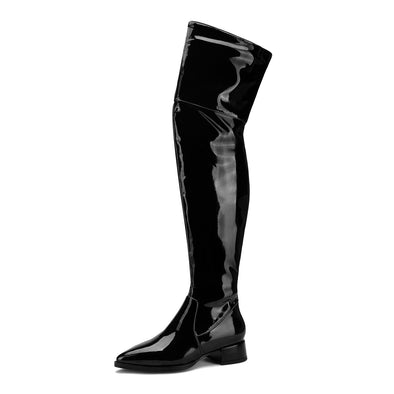 Fashion Patent Leather Elastic Boots