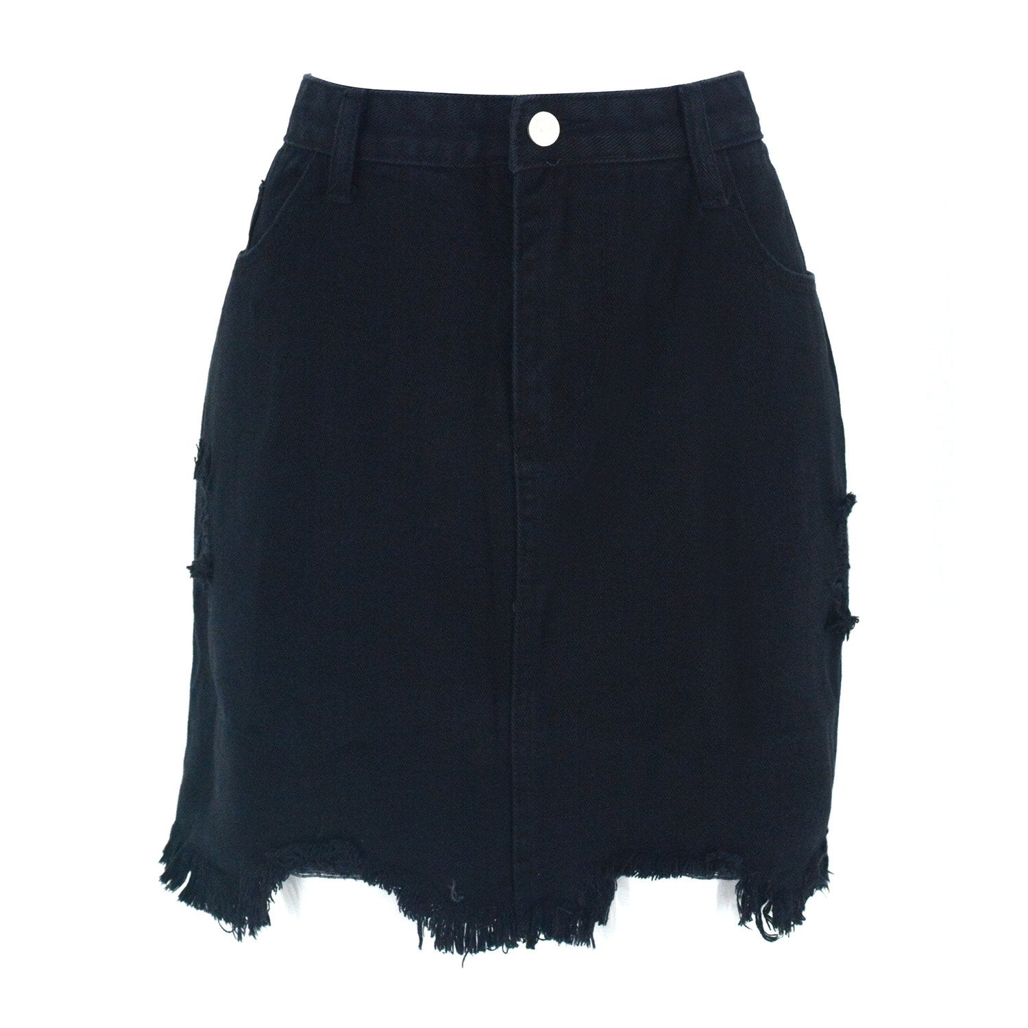 Casual High Waist Ripped A-Line Mini Short Denim Skirt
