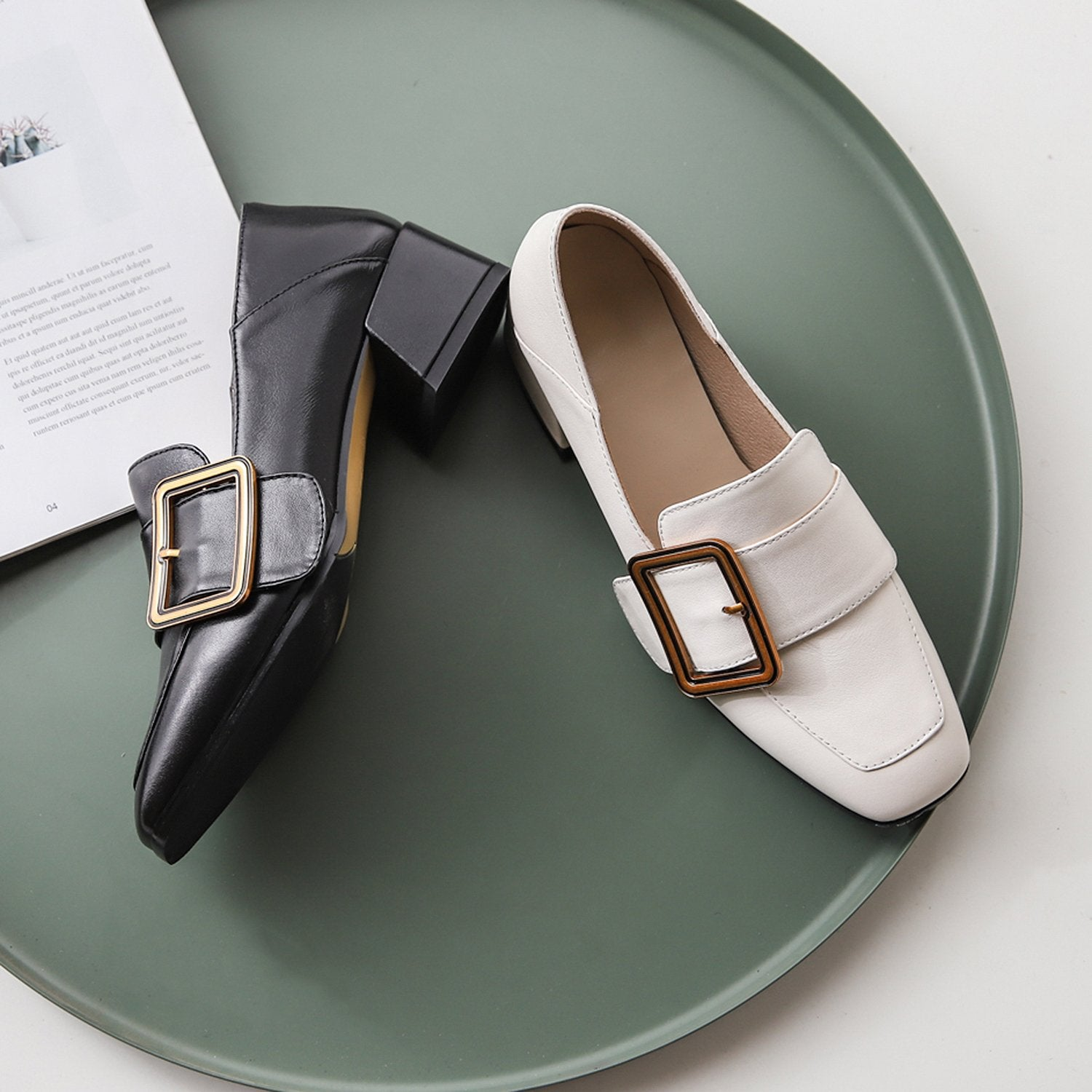 Classic Buckle Loafer Mule Shoes