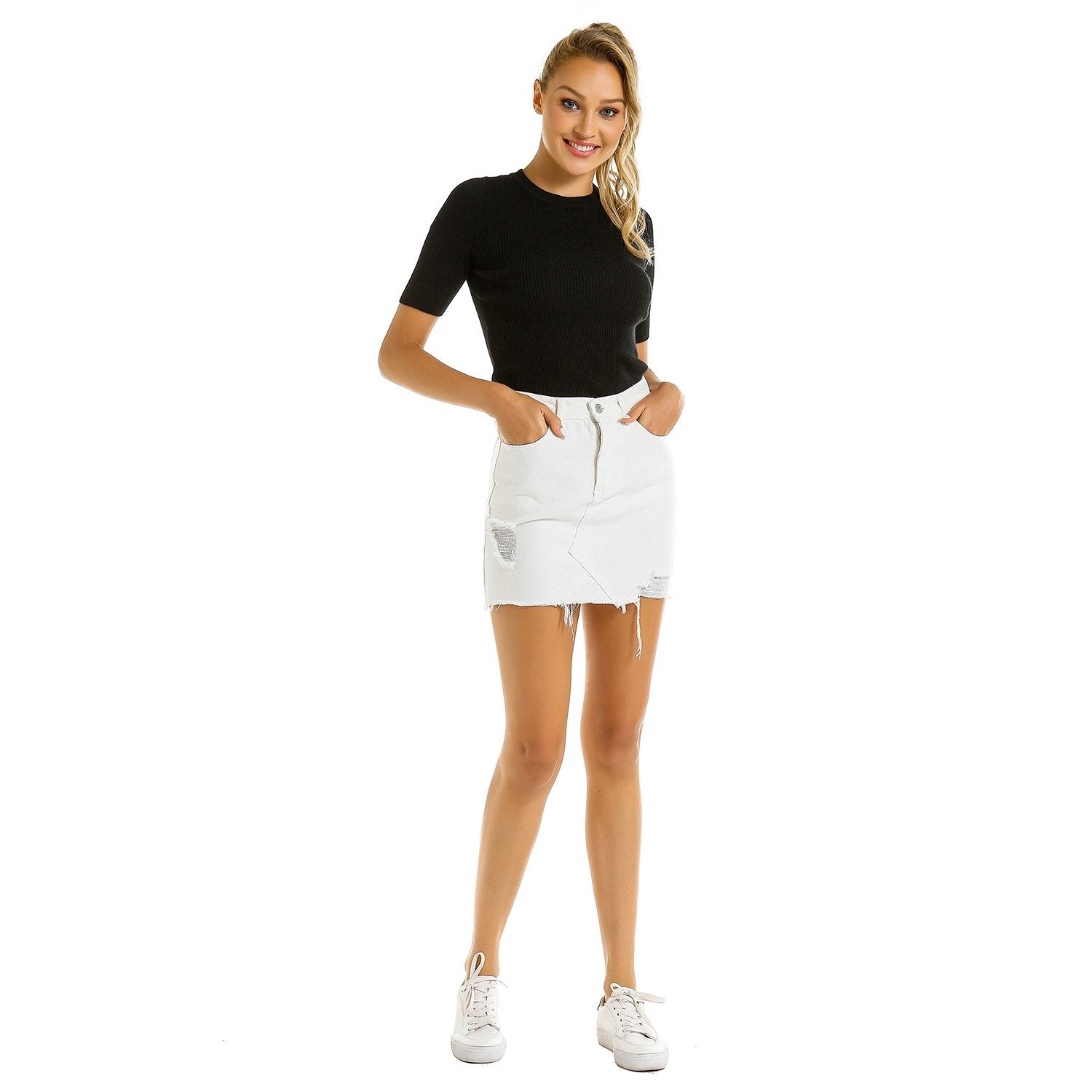 Summer A-Line Cut Off Denim Jean Skirt