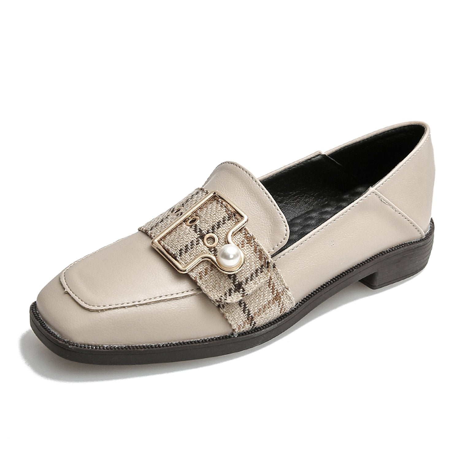 Flat Square Head Low-heel Leather Shoes