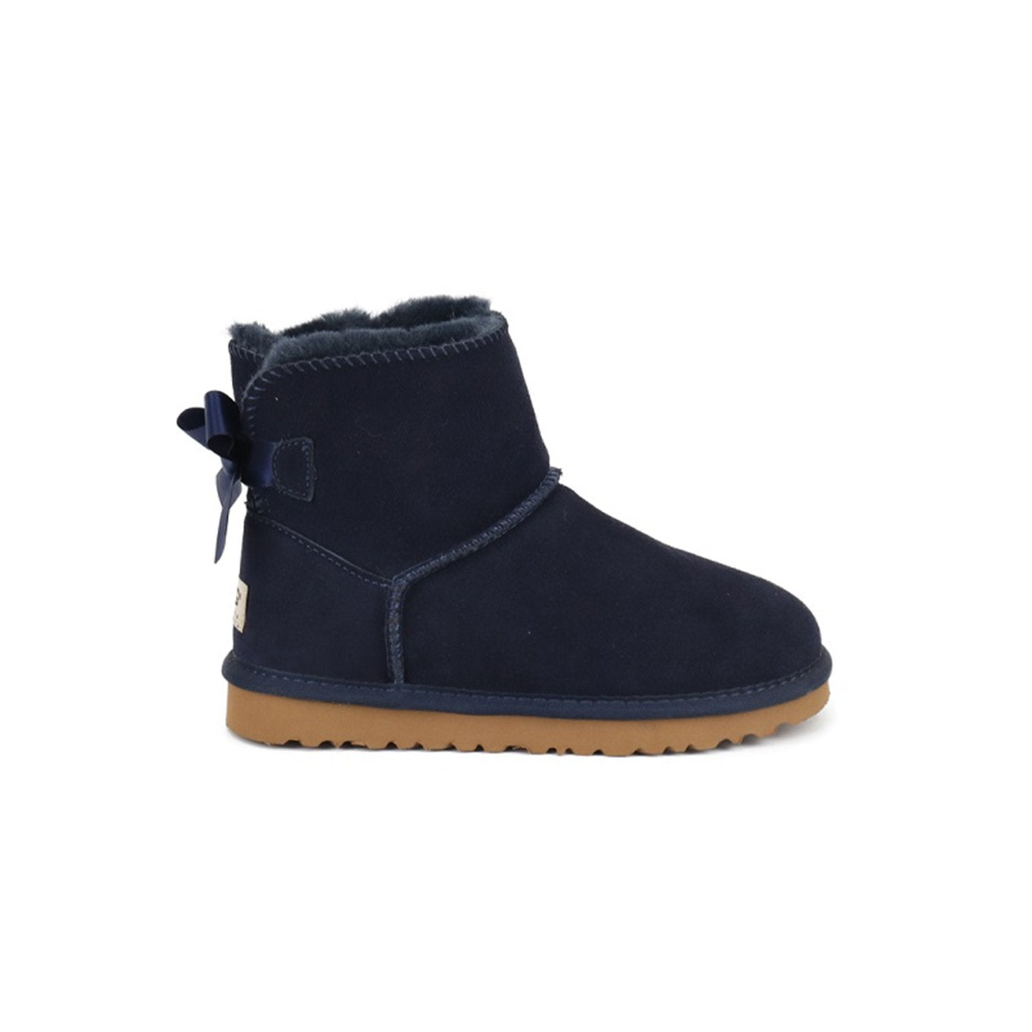 Low-tube Bow-knot Warm Cotton Leather Snow Boots (Dark Color)