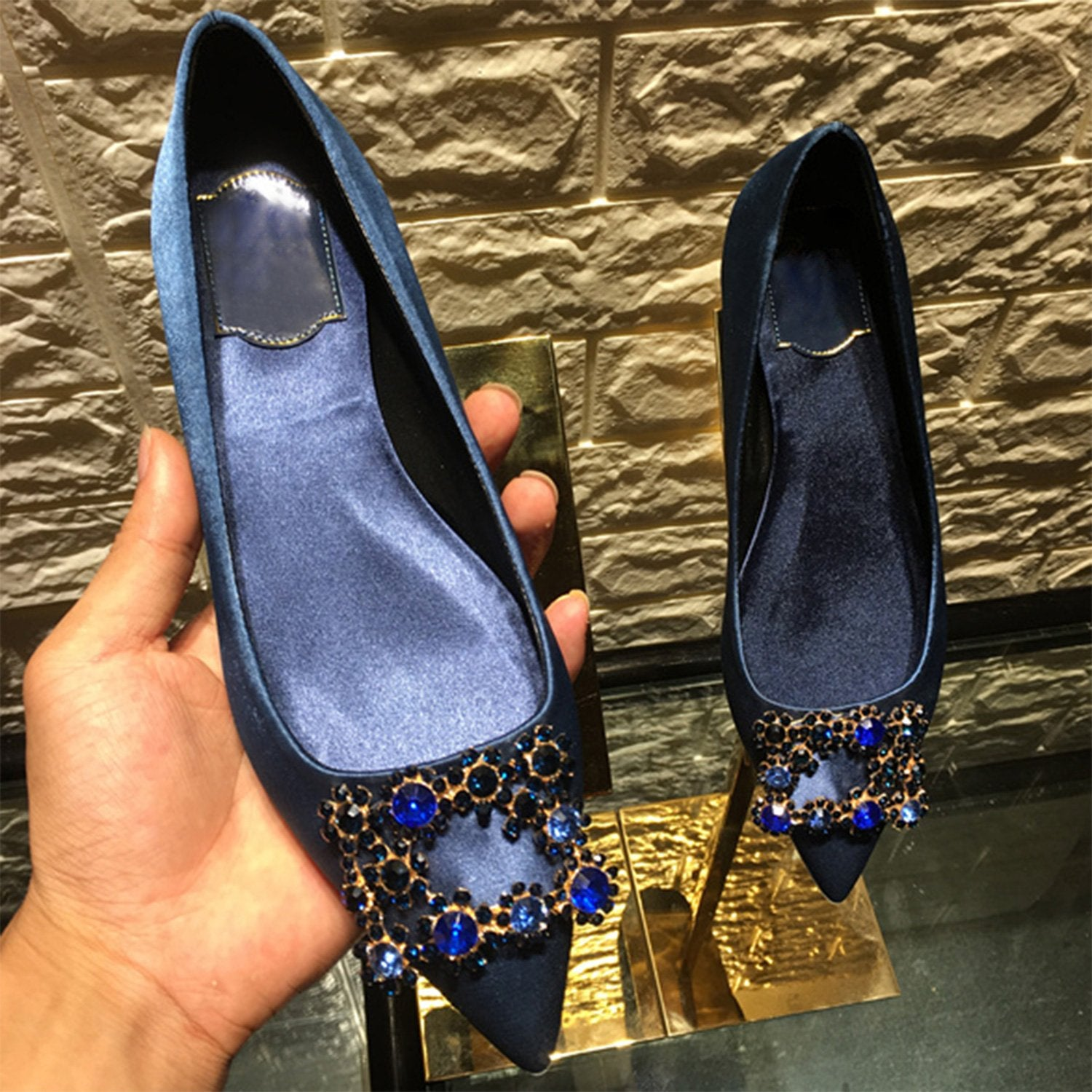Silk Glitter Square Buckle Loafer