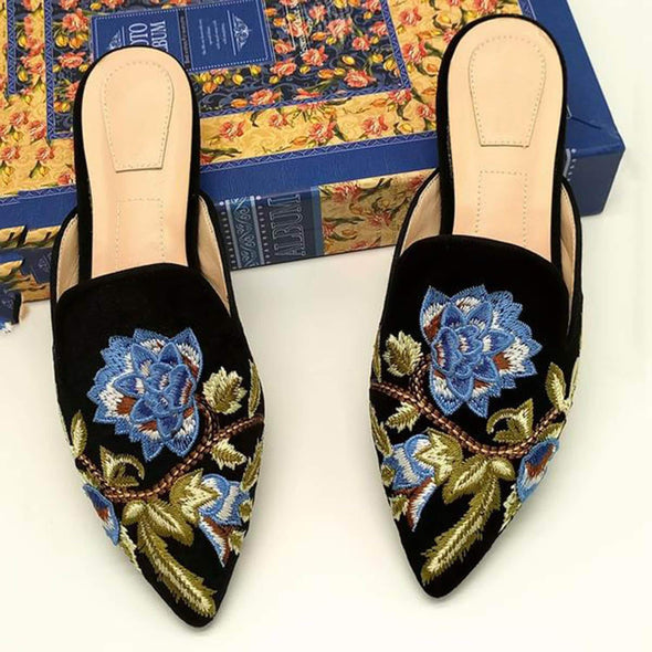 Embroidery Mule Flats