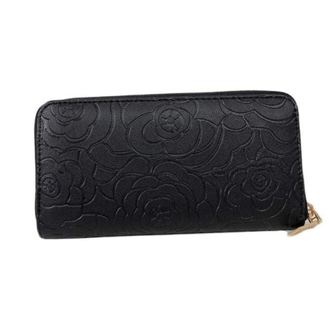 Rose Embossed Leather Wallet