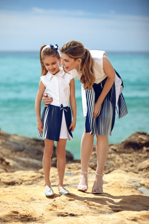 White and Blue Pleat Matching Skirt Set