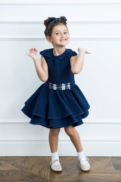 Navy Girl Dress With Tweed Detail