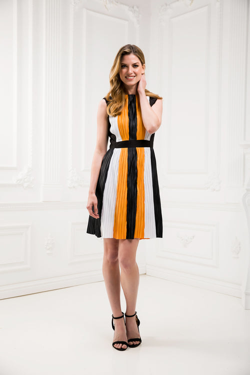 Pleated Tricolor Dress