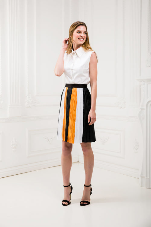 Tricolor Pleated Skirt