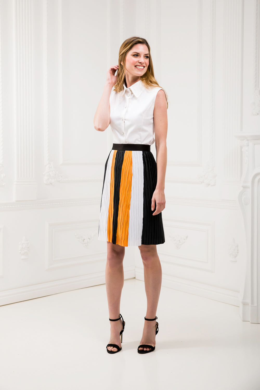 Tricolor Pleated Matching Skirt and Dress Set