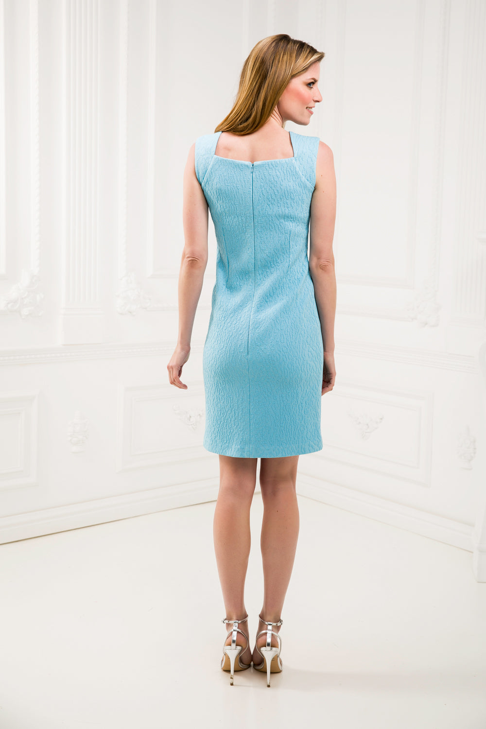 Jacquard Light Blue Pencil Dress