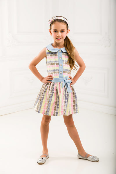 Girl Jacquard Dress With Denim
