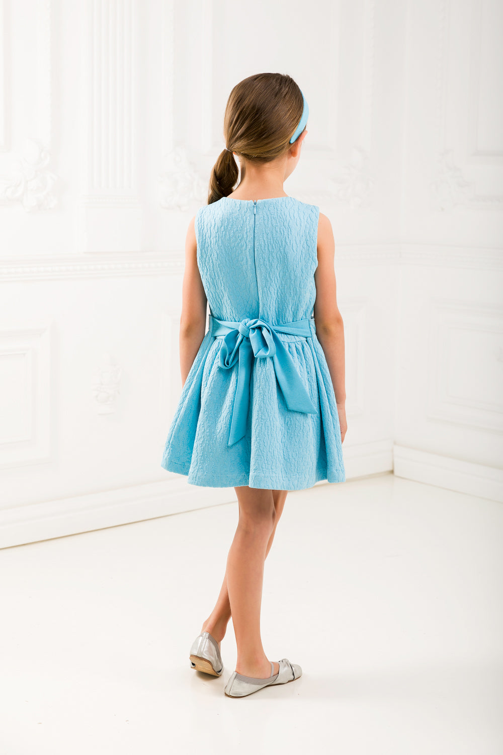 Jacquard Light Blue Matching Dress Set