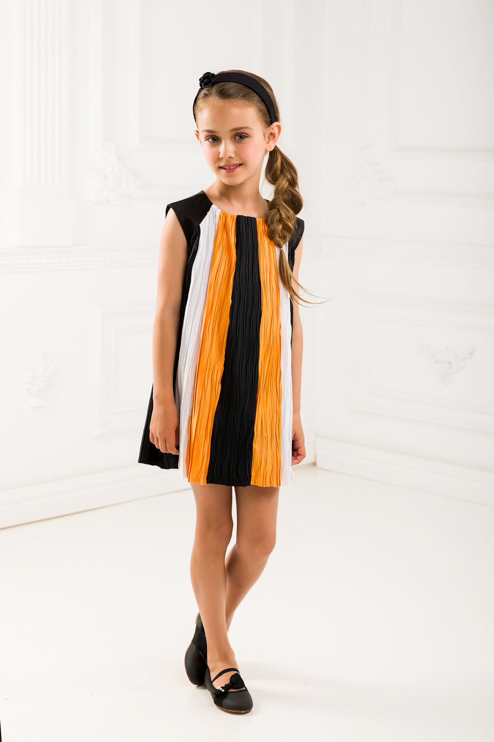 Pleated Tricolor Girl  Dress