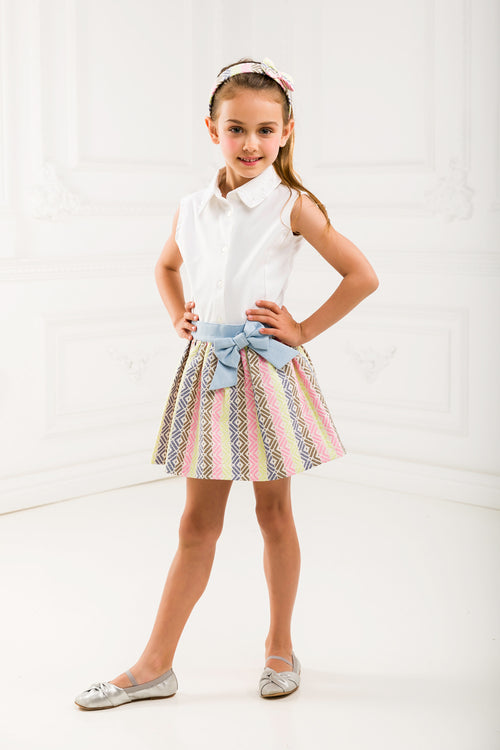 Girl Jacquard Skirt With Denim