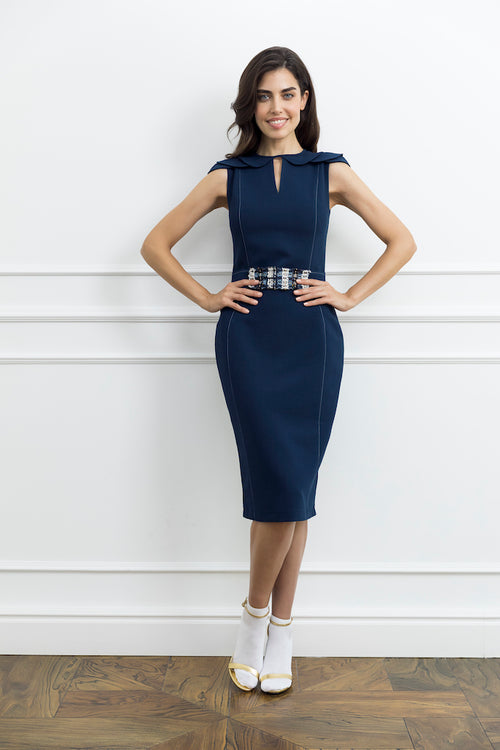 Navy Pencil Woman Dress with Tweed Detail