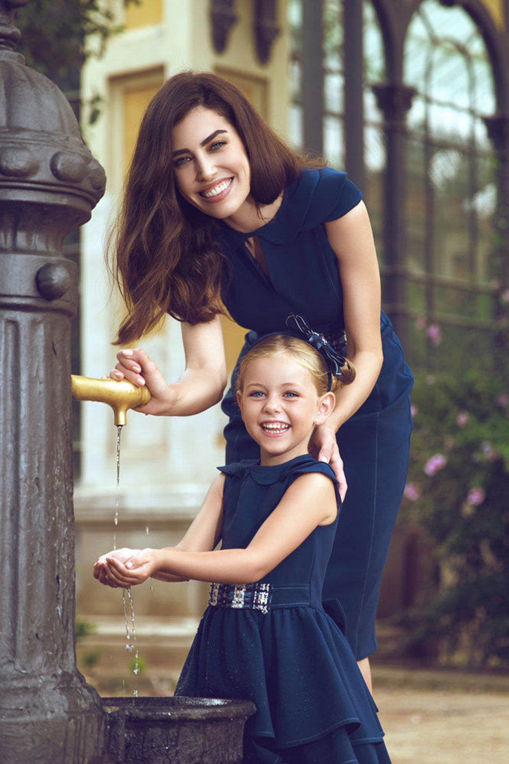 Navy Mother and Daughter Matching Dress Set