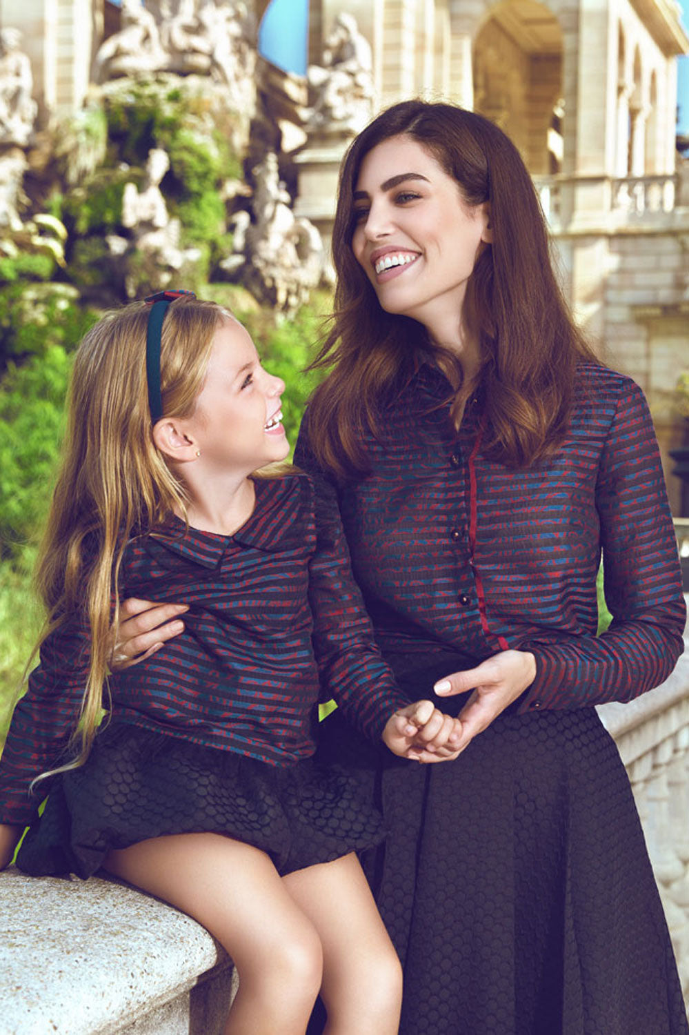 Striped Mother and Daughter Matching Shirt Set