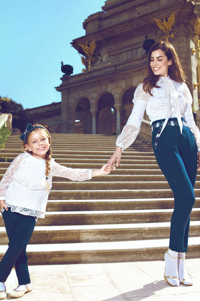 Navy Mother and Daughter Matching Pants Set