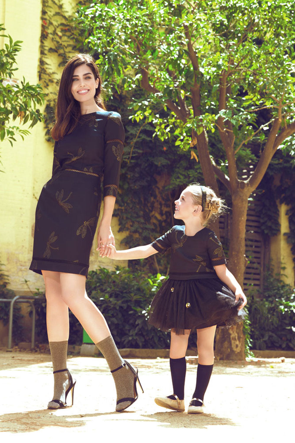 Black Jacquard Mother And Daughter Matching Dress Set