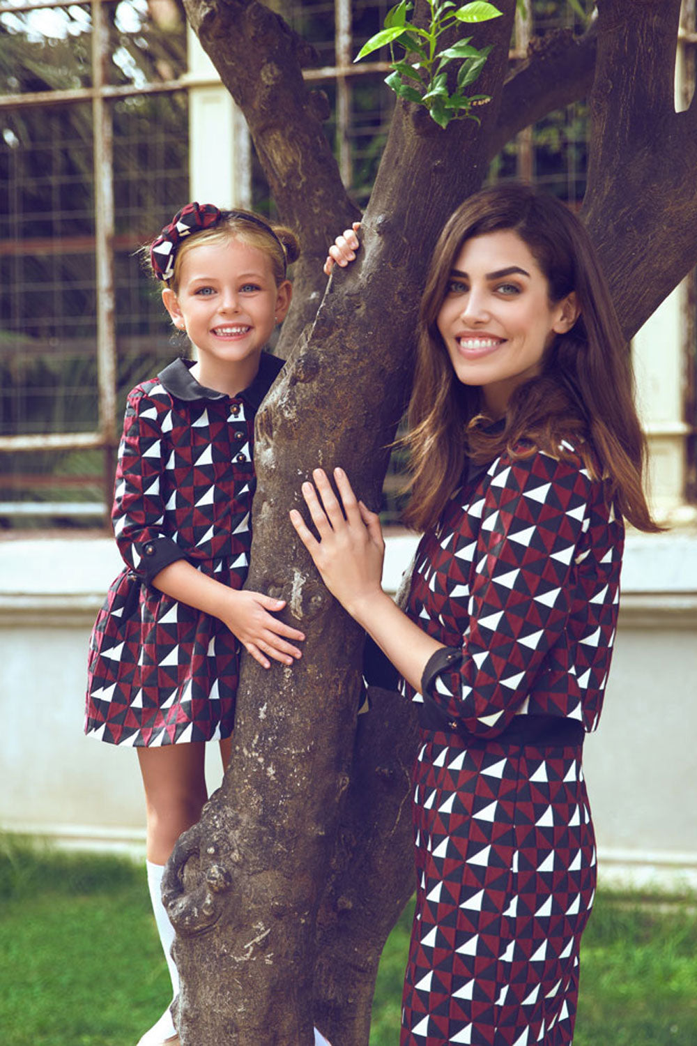 Geometric Mother and Daughter Matching Dress Set