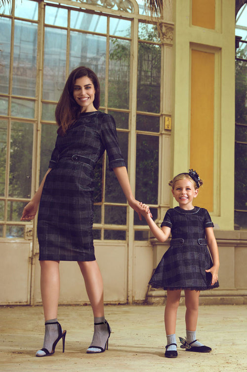 Checked Mother And Daughter Matching Dress Set