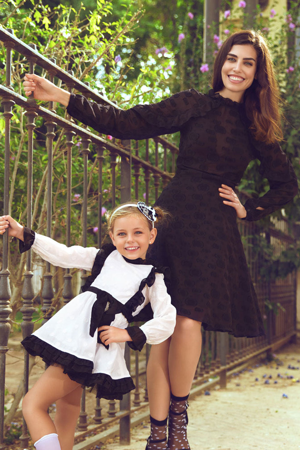 Black Dotty Mother And Daughter Matching Dress Set