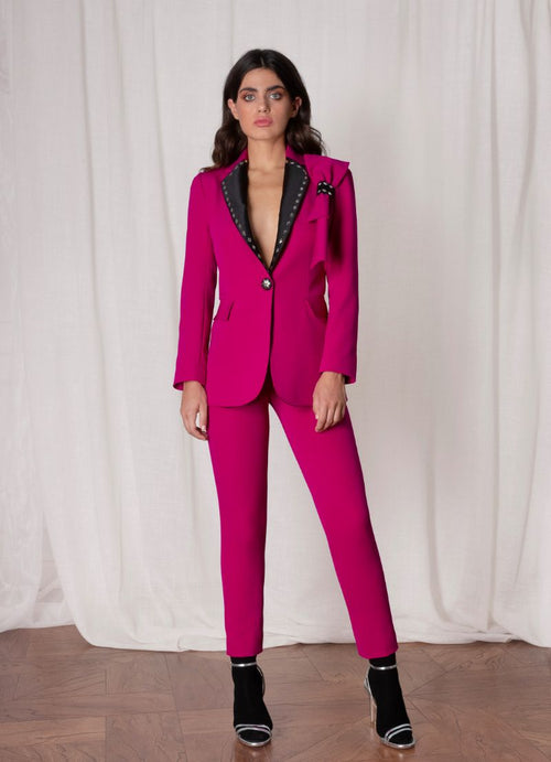 Purple Woman Blazer With Pant