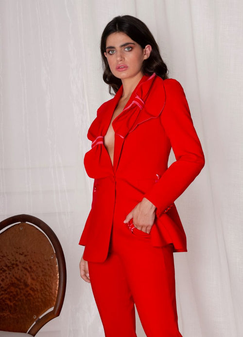 Red Woman Blazer With Pant