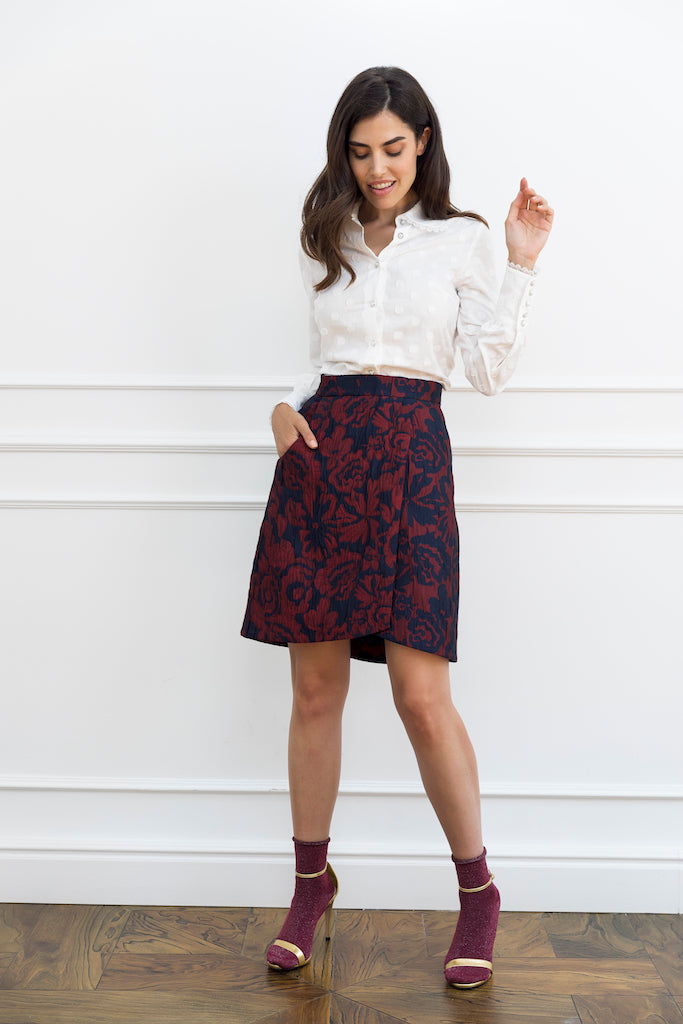Floral Jacquard Woman Skirt