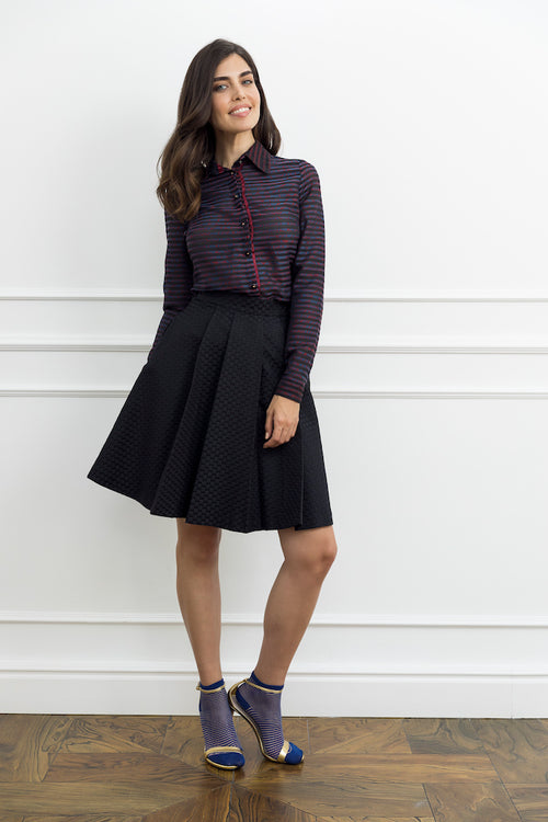 Black Dotty Flat Pleat Skirt