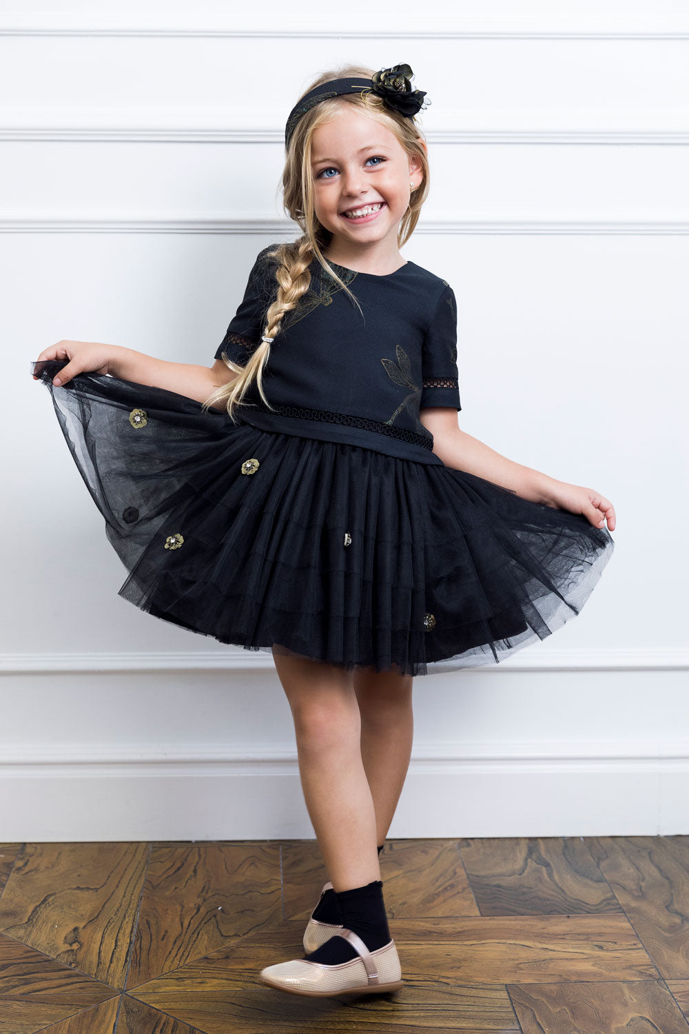 Black Mother And Daughter Matching Skirt Set
