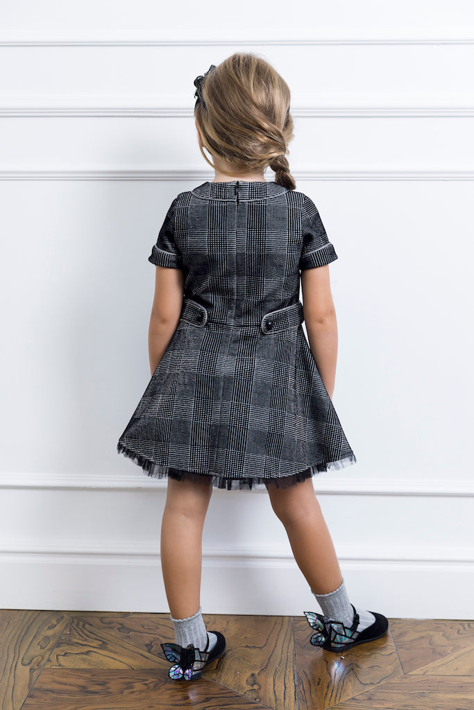 Silver Checked Girl Dress