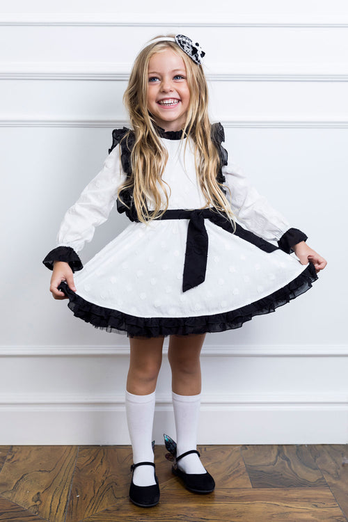 Black And White Dotty Girl Dress