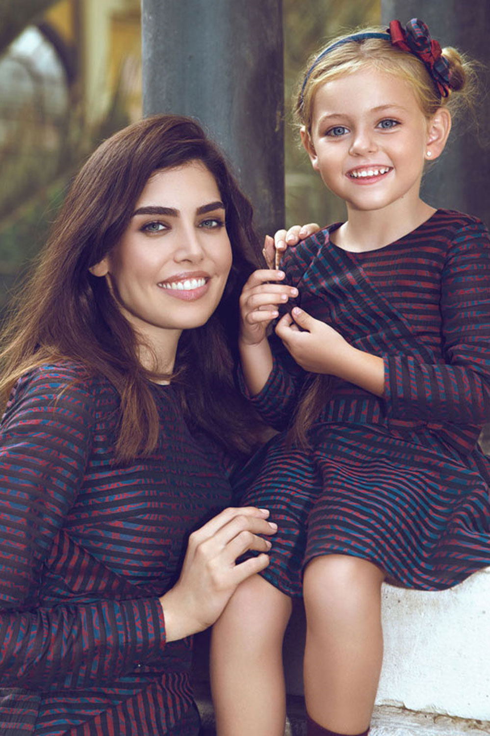 Striped Matching Mother and Daughter Dress Set