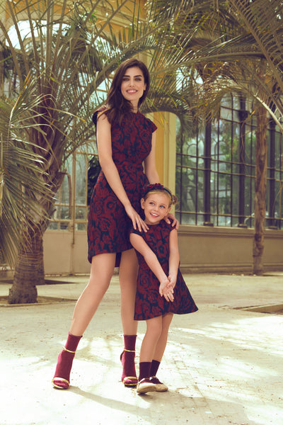 Floral Jacquard Mother and Daughter Matching Dress Set