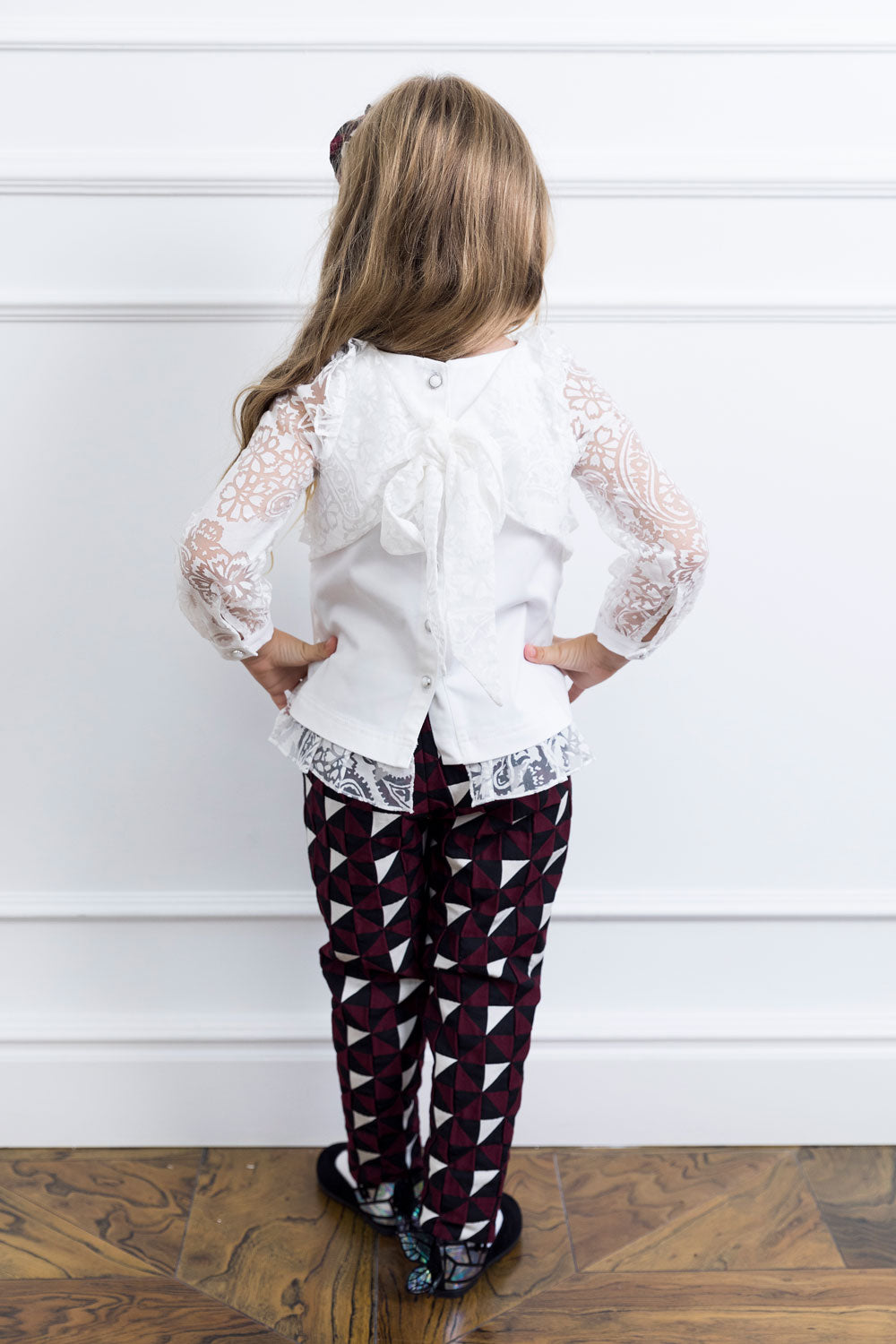 Geometrical Mother and Daughter Matching Pants Set